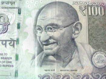 Gandhi on currency note