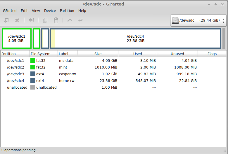 Installing Linux Mint on 32 GB USB drive with separate home