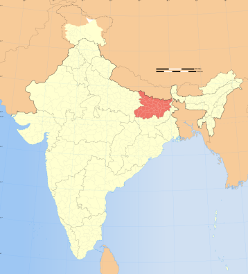Location of Bihar in India